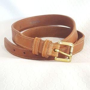 34 36 Lands End Leather Belt Gold Brown